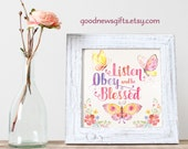 Listen Obey and be Blessed Butterfly Square