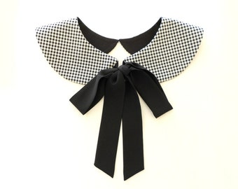 Black Bow Checked Collar Necklace / Black and White Plaid Detachable Handmade Peter Pan Collar / Col Claudine Amovible
