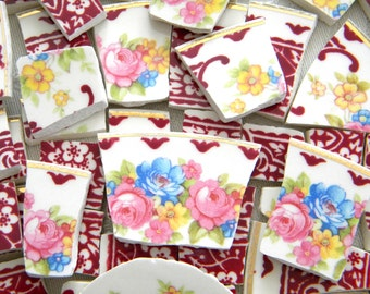 Mosaic China Tiles - Floral Bouquet - 90 Tiles - Recycled Plates - Broken China