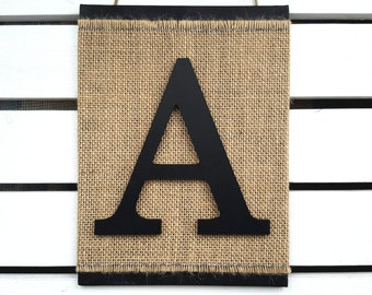 Monogram Letter Sign - Letter A Wall Hanging - 3D Letter Burlap Sign - Initial Sign - Modern Rustic Wall Decor - Any letter A-Z