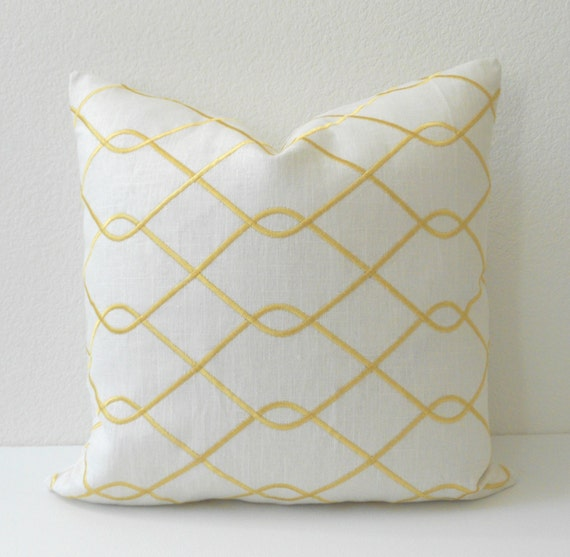 Yellow and white embroiderd trellis linen decorative pillow cover
