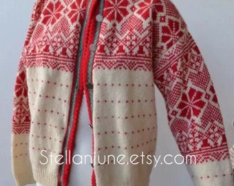 Vintage Eddie Bauer Sweater Cardigan wool loomed Jumper Ugly Christmas Sweater Large red green