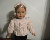 "Hand-Knit Aran sparkly Cable Sweater and Headband for 18"" 18 inch Dolls will fit American Girl"