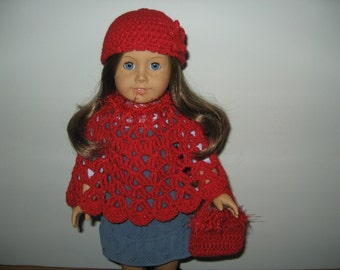 "Hand-Crocheted sparkly red with red funfur trim 3 piece Poncho set for 18"" 18 inch Dolls will fit American Girl"