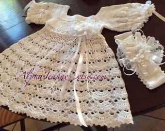 Baptism Dress, Crochet Baby Dress, Christening Baby Girl Dress, Handmade Baby Girl Dress, Special Ocassion Dress