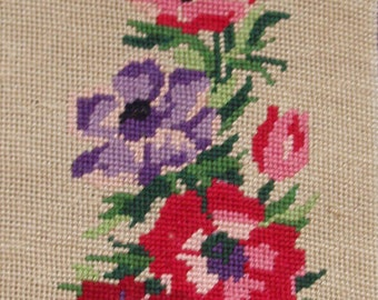 Vintage French needlepoint tapestry canvas embroidery - Anemones