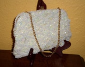 Clutch/White Satin/Seed Pearls/PEARL/SEQUINS SATIN/Clutch