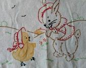 Vintage Baby Bib - Hand Stitched Retro Bunny with Chick Baby Bib, Vintage Baby Gift, Gift For Baby, Baby Shower Gift, Handmade Needle Arts