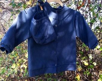 Vintage Toddler Boys Amish Coat + Matching Bonnet - Retro Handmade Minimalist Soft Polyester Outerwear, Toddler Clothing, Old Fashioned