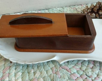 Mid Century Teak Box - Teak Lidded Wooden Box Vintage Dovetailed Dresser Tray For Him, Retro Collectible Box, Fathers Day, Gifts For Men