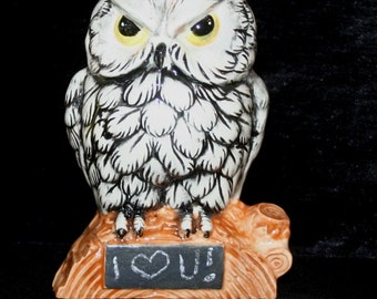 Owl Pencil holder or planter with chalkboard plaque for your own special chalk message.