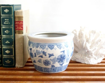 Vintage Asian Planter, Blue and White, Chinoiserie