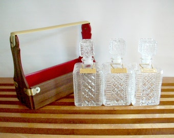 Decanter Set with Hang Tags and Caddy, Vintage Tantalus, Mid-Century Barware, Liquor Decanters