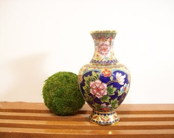 Vintage Enameled Brass Floral Vase, Chinoiserie Chic, Hollywood Regency, Brass Vase, Cloisonee