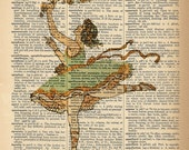 Dictionary Art Print - Ballerina Dancer - Upcycled Vintage Dictionary Page Poster Print - Size 8x10