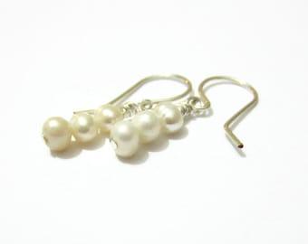 White Freshwater Pearl Earrings, Triple Pearl Gemstone Drop Earrings, Sterling Silver, June Birthstone, 30th Anniversary, Bridal Jewelry