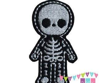 Skeleton Body - Xray on Black Felt Embroidered Embellishment Clippie Cover SET of 4 - Multiple Sets Available