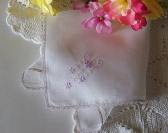 Bridal Handkerchief Vintage Pale Amethyst and White Wedding Hanky Something Old Shower Gift Keepsake for a Bride
