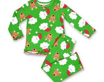 Sale -Monogrammed Infant Girls Christmas Pajama Set/Personalized Ruffle Christmas Pajama/Santa & Reindeer Pajama Set/Sara's Prints Pajama