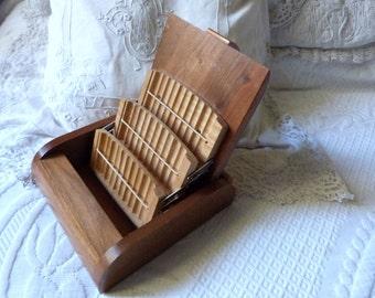Vintage cigarette box holder French wooden box RARE 1950s mid century tocacciana collectible handmade tobacco sigarette box w dividers