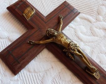Antique French cross crucifix LARGE religious art wall crucifix wood w bronze Jesus Christ corpus christi, letters INRI, wooden church decor