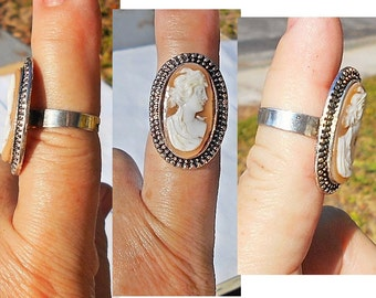 1 Vintage Hand Carved Carnelian Greek Cameo with Diadem Crown, Roman Goddess , Adjustable Ring of Tibetan Silver Only 55.00