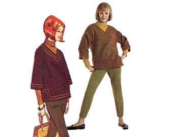 1960s Wardrobe Pattern Pencil Pants Roll Collar Blouse Pullover Top Tapered Womens Pants Advance 3277 Bust 32 Vintage Sewing Pattern