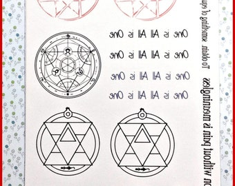 FMA Blood Seal Temporary Tattoo and bonus Alchemy Symbols and Mantras
