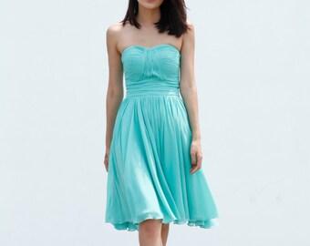 On Sale Size XXS Mint Green Wedding dress party dress bridesmaid dress Prom handmade knee length formal dress - NC638-5