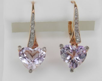 Diamond and Heart Amethyst Drop Earrings 14K Rose Gold 3.12 ct February Gem
