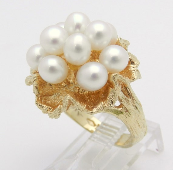Vintage Estate 14K Yellow Gold Pearl Cluster Cocktail Ring Circa 1950's Size 5.5