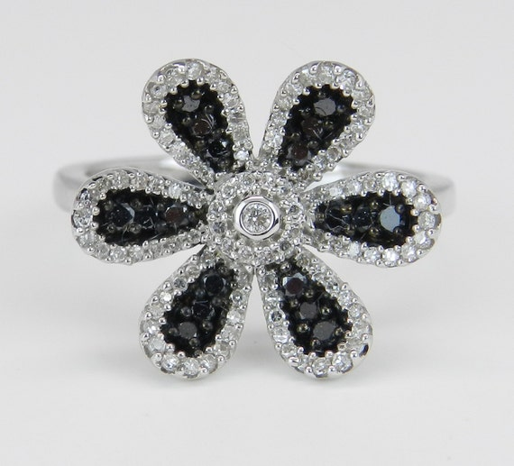 Black and White Diamond Ladies Flower Statement Ring 14K White Gold Size 7