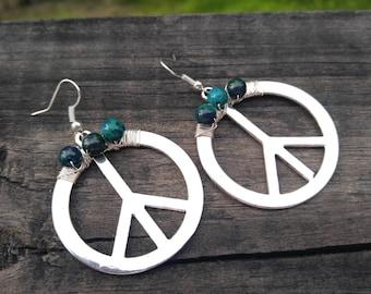 Peace Sign earring jewelry earring dangle drop peace sign earring silver peace sign collectionsbyTracy jasper beads EBE16 gypsy girl boho