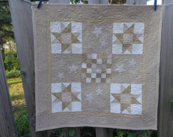 Vanilla Cream Stars Decor Quilt, Neutral Stars Quilt 0515-02