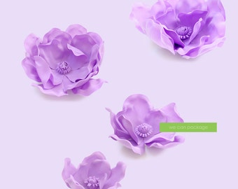 SALE: Lavender Magnolia Flowers for Wedding Backdrops  and Flower Wall - Set of 4