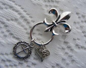 Fleur de Lis ID Badge Name Tag Key Eyeglass Sunglasses Holder Pin Brooch with Cross and Designer Heart Dangling Charms
