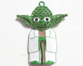 50mm*41mm Star Wars Inspired Rhinestone Pendant, Yoda Inspired Pendant, P19