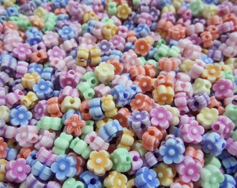 6mm* 4mm, Flower Spacer beads, 1mm Hole, Approx. 300 beads, 30g, Mixed Color