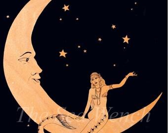 "Paper Moon Mermaid art print 12"" x 16"""
