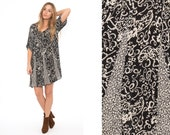 Vintage 90's Black Floral Gauze Oversized Mini Dress