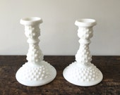 SALE Pair of Vintage Fenton White Hobnail Milk Glass Candle Holders