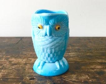 Challinor Taylor Blue Milk Glass Owl Pitcher
