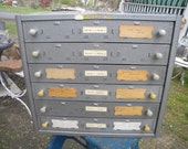 nice shape vintage mid century INDUSTRIAL METAL 6 drawer film CABINET