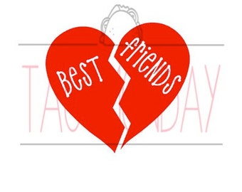 Best Friends Heart Decal