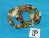SPECIAL SALE-Chunky Amber, Topaz, Cream Beads, Amber Lampwork, Copper Fluted & Scribed Spacers on Spring Wire Bracelet - Fits Any Wrist - P