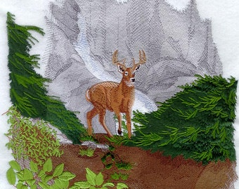Deer in the Wilderness Embroidered on Kona Cotton Quilt Block // Plain Weave Cotton Dish Towel // Also Available on Other Items