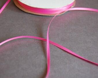 """7yds - 1/8"""" Hot Pink DF Satin Ribbon"""