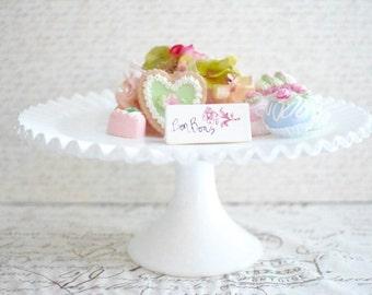 Cake Stand Vintage Ruffled Milk Glass Wedding Cake Stand - Vintage Fenton White Pedestal Cake Cupcake Stand