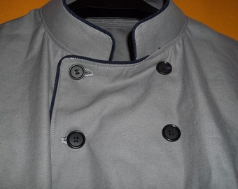 Chef Coat Handmade from gray heavy cotton twill and black for contrast opn inside panel and cuffs, pipped, buttons and monogam in black.