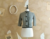 Vintage 1950s Sylish Cropped Houndstooth Wool Jacket -Elementary My Dear-